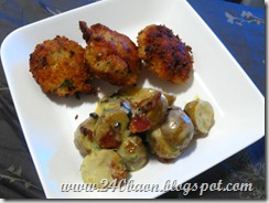 fish and shrimp cakes with potato salad with yellow dressing, by 240 baon