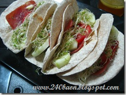 ham and vegetable pita wraps, by 240baon