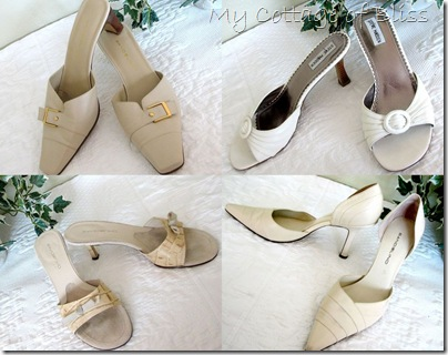 White & cream heels collage