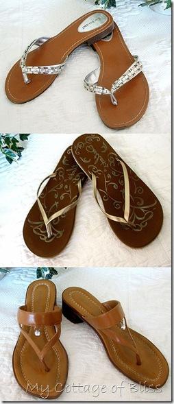 Silvergoldcamel flip flop collage