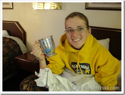 91Emily w her hot chocolate mug that Caedmon and Melissa personalized for her