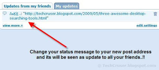 inform your friends about new post in orkut