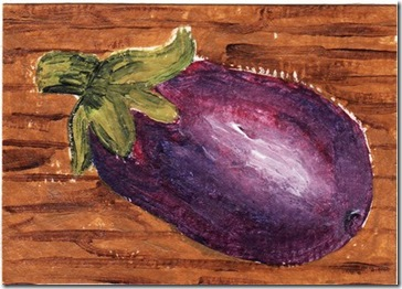 eggplant on my deck aceo heronkate