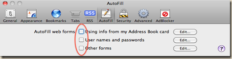 Safari Auto Fill Settings