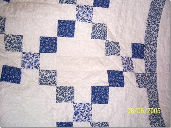 close up of blue irish chain