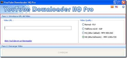 Menú del programa YouTube Downloader HQ Pro