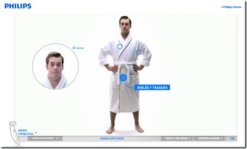 Menú interactivo de la web de Philips Bodygroom