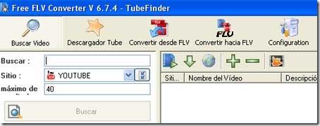 Menú principal del programa Free FLV Converter