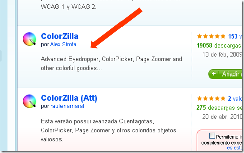 Complemento de Firefox ColorZilla