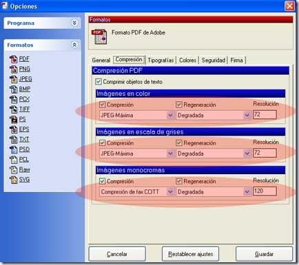 Menú opciones de compresión de PDFCreator