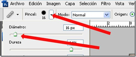 Elegir tamaño de pincel corrector de Photoshop