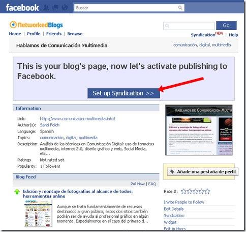 Activar publicación de blog en Facebook