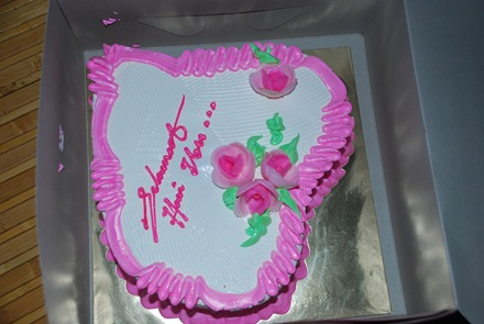 Cake - bought by my twin for Mother's Day celebration.