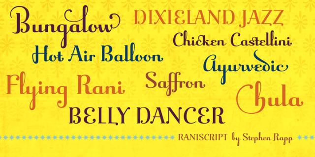 Raniscript Font Sample