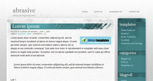 abrasive-simple-grunge-blogger-template- gray-blue-custom-backgrounds-for-2010