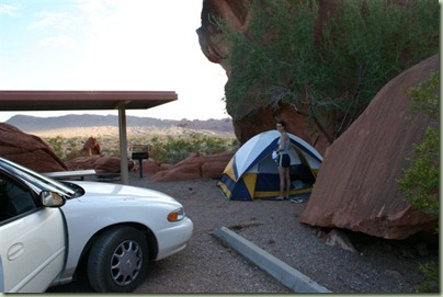 24 - Daarna wat primitiever, de camping in de Valley of Fire