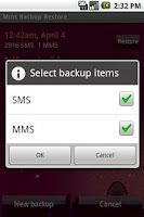 Screenshot of Mms Backup Restore