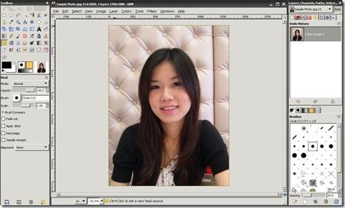 使用GIMP修改照片中臉上的痘痘, 雀斑, 和痣