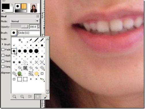 選用GIMP裡的Healing Tool筆刷