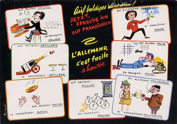 Cartes Postales Pop et  Kitsch des années 50, 70 et 70 - Pop and kitsch vintage postcards from the fifties, the sixties and the seventies : Quelques mots d'humour