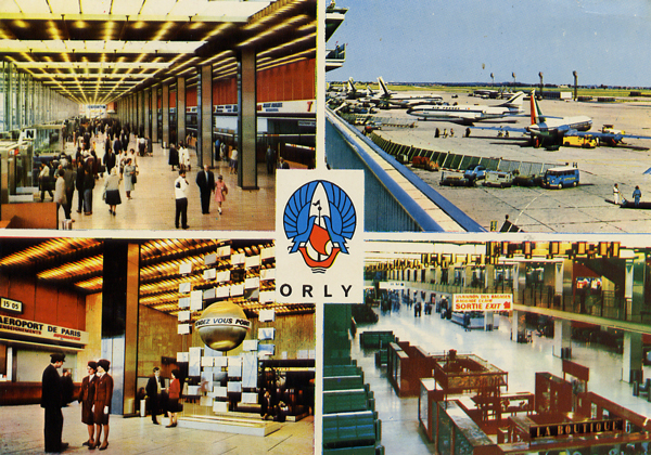 Cartes Postales Pop et  Kitsch des années 50, 70 et 70 - Pop and kitsch vintage postcards from the fifties, the sixties and the seventies : AEROPORT DE PARIS-ORLY Le hall - L'aire de stationnement - Le point de rendez-vous - La galerie marchande