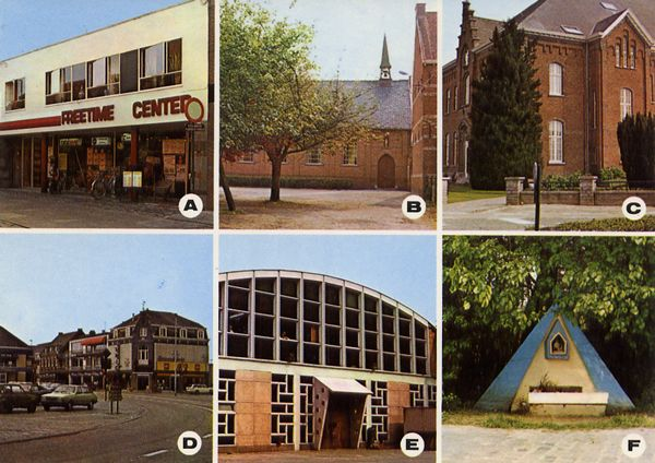 Cartes Postales Pop et  Kitsch des années 50, 70 et 70 - Pop and kitsch vintage postcards from the fifties, the sixties and the seventies : a : Free-Time-Center b : Kerk St. Adriaan c : School d : Markt e : Don-Bosco School f : Kapel Wilde-Heide