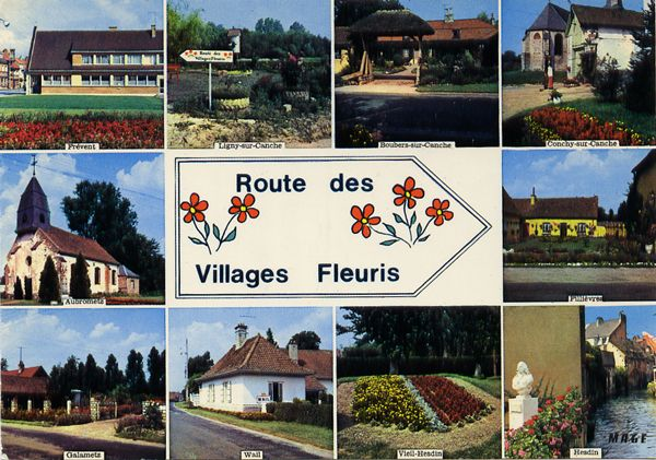 Cartes Postales Pop et  Kitsch des années 50, 70 et 70 - Pop and kitsch vintage postcards from the fifties, the sixties and the seventies : Route des Villages Fleuris (62 - Pas-de-Calais)