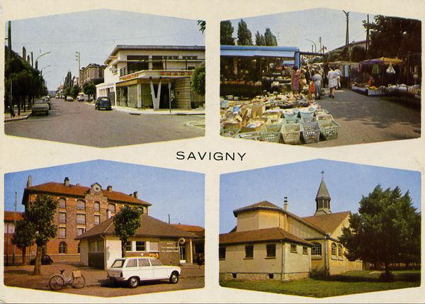 Cartes Postales Pop et  Kitsch des années 50, 70 et 70 - Pop and kitsch vintage postcards from the fifties, the sixties and the seventies : Savigny : Divers aspects de la ville