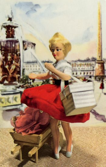 Cartes Postales Pop et  Kitsch des annes 50, 70 et 70 - Pop and kitsch vintage postcards from the fifties, the sixties and the seventies : Le retour des poupes