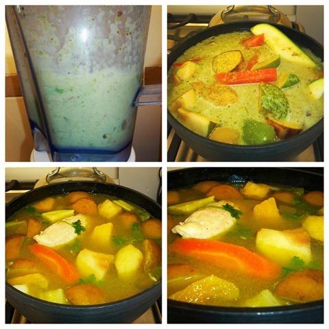 Añade las verduras y frutas y el recaudo. Deja cocer y apaga el fuego