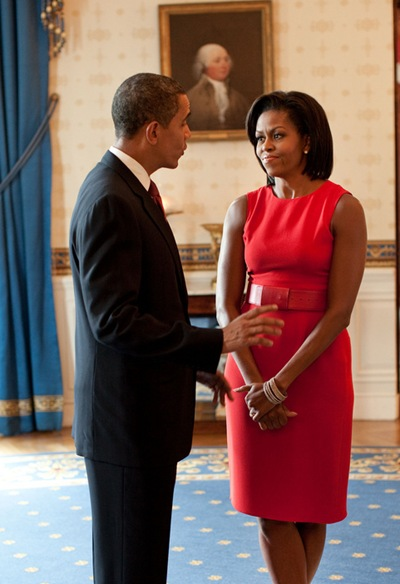 President Barack Obama and First Lady Michelle Obama talk in the Blue Room of the White House before the start of the Presidential Medal of Freedom ceremony,  August 12, 2009.  (Official White House photo by Pete Souza)