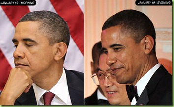 Two images of President Barack Obama from Jan. 19, 2011, one from morning (left) and another from evening (right).  (Photos by Alex Wong/Getty Images)