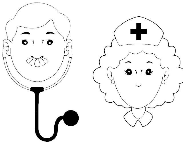 PINTA DIBUJOS DE MEDICOS Y ENFERMERAS