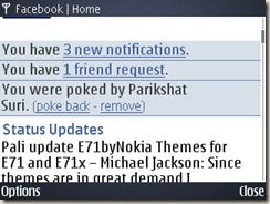 screenshot of facebook application on E71