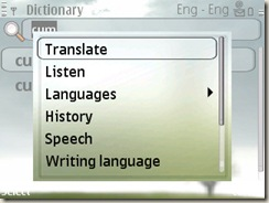 Translation using dictionary on E71