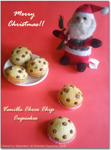 Eggless Vanilla Chocolate Chips Cupcakes Recipe
