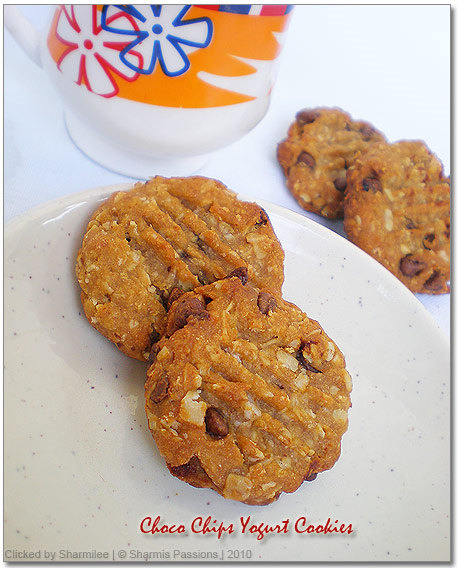Eggless Choco Chip Yogurt Cookies