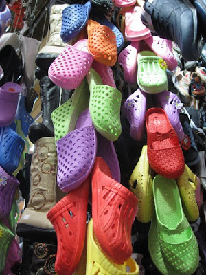 Shoes for sale in the Hamidiyeh Souq in Damascus Syria