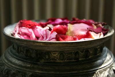 Bowl of rose petals at Chateau St Julien l'Ars near Poitiers France
