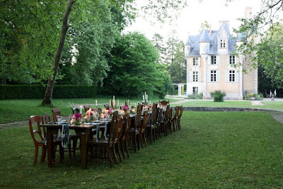 Wedding reception dinner table at Chateau St Julien l'Ars near Poitiers France
