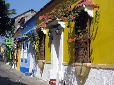 Colorful buildings in Cartagena old town