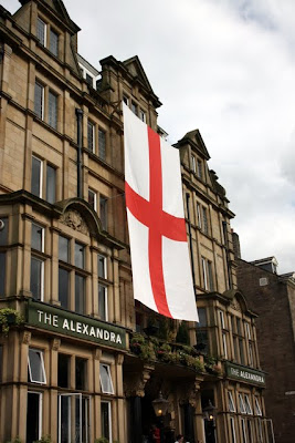 England flag on a building in Harrogate during the World Cup