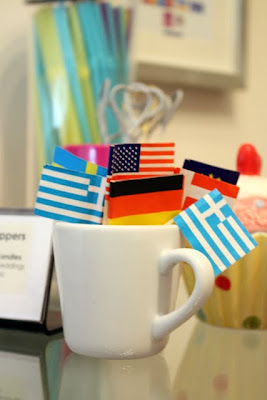 Flags during the World Cup at a cupcake shop in Harrogate