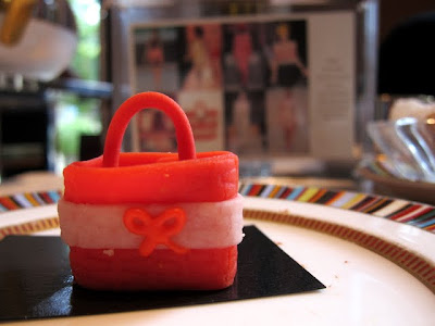 Cake that resembles an Anya Hindmarch bag at Pret a Portea in London