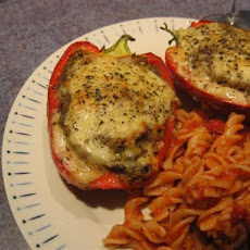 Peperoni Ripieni ( Italian Stuffed Bell Peppers With Eggplant)
