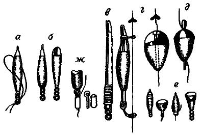 Поплавки: а — из пробки; б — из пенопласта; в— из пера; г — скользящие; д — яйцеобразные; е — зимние; ж — закрепление поплавка на леске.