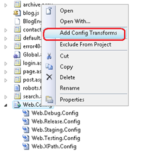 Add Config Transforms