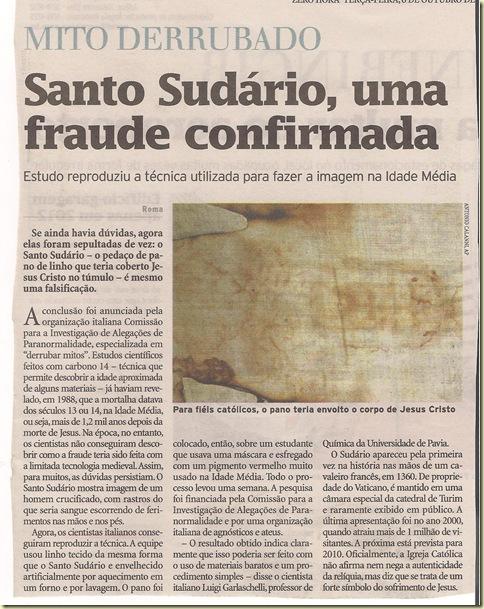 Santo Sudário uma fraude confirmada 2009