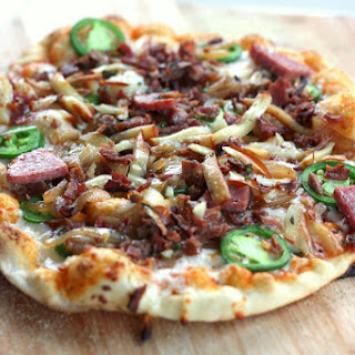 Bacon Jalapeno Sausage Pizza with Sriracha Sauce