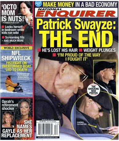 patrick swayze sick. Patrick Swayze Hair Loss